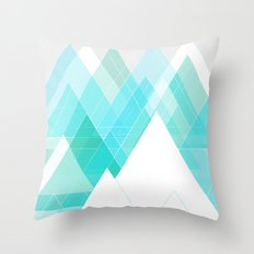 Icy Grey Mountains Throw Pillow