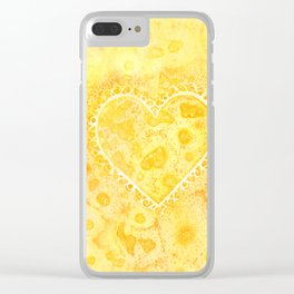 Yellow & Orange Lace Hearts Clear iPhone Case