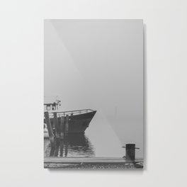 Boat harbor on a misty day 2 - the black and white collection Metal Print