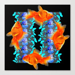 PATTERNED  BLUE BUTTERFLIES GOLD FISH & BLACK ARTWORK Canvas Print