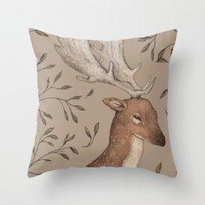 The Fallow Deer and Oats Throw Pillow