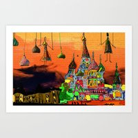 moscow Art Prints featuring Moscow  by sladja