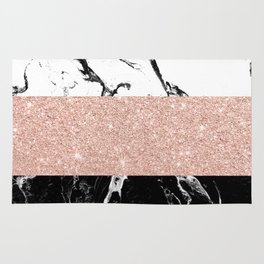 Modern black white marble rose gold color block stripes pattern Rug