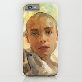 Portrait Painting of Bald Person Woman Face in Yellow Purple Green Impressionist Art iPhone Case