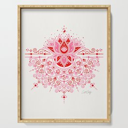 Lotus Blossom Mandala – Red & Pink Palette Serving Tray