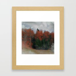 October Forest Red Green Framed Art Print