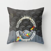 teeth Throw Pillows featuring Teeth by VikaValter