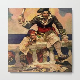 """Blackbeard Boarding"" Pirate Art by Frank E Schoonover Metal Print"