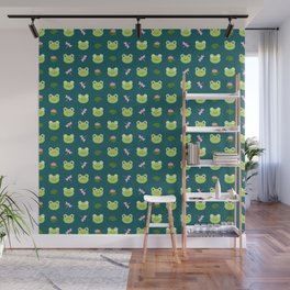 Frogs, Dragonflies and Lilypads on Teal Wall Mural
