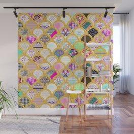 Modern Scallop Pattern Trendy Girly Gold Glitter Wall Mural