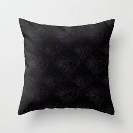 Heart shaped spider web pattern Throw Pillow
