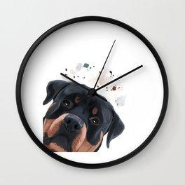 Curious Rottweiler Dog Wall Clock