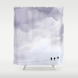 Bird cloudy sky sweet  illustration oiseau sur un fil ciel nuageux Shower Curtain