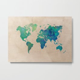 world map 95 green #worldmap #map Metal Print