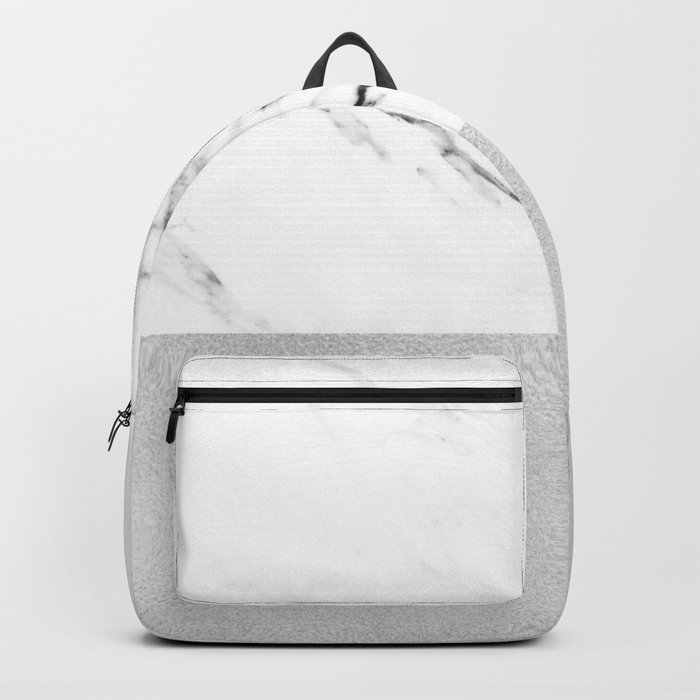 White Marble with Black and Grey Silver Stripe Backpack
