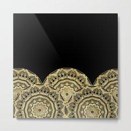 Golden Mandalas on Black Metal Print