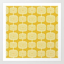 Mid Century Modern Atomic Rings Pattern Mustard Yellow Art Print
