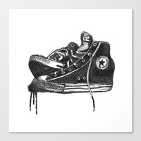sneakers Canvas Prints featuring sneakers by Cardula