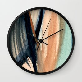 Waves - a pretty minimal watercolor abstract in blues, pinks, and browns Wall Clock