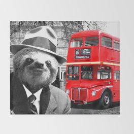 Sloth in London Throw Blanket