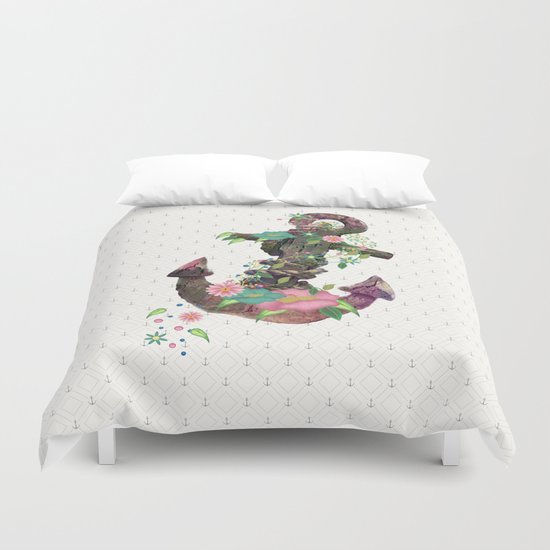 Floral Anchor Duvet Cover