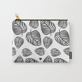 Black Leaves on White Carry-All Pouch