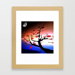 Japanese Maple Under Night Sky With Moon Framed Art Print