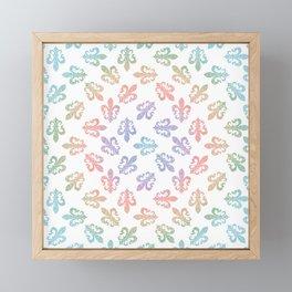 Fleur De Lis - seamless rainbow pattern Framed Mini Art Print