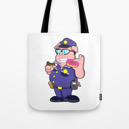 Pig as Police officer with Sunglasses & Donut Tote Bag