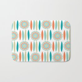 Mid Century Modern Mandala and Leaf Nature Print Bath Mat