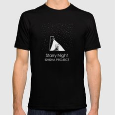 Starry Night by ISHISHA PROJECT Mens Fitted Tee MEDIUM Black
