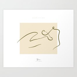 Minimal Nude - Lying on Side Line Art - Yellow/Dark Olive Art Print