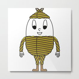 Wrapping-Paper Stripes Egg Metal Print
