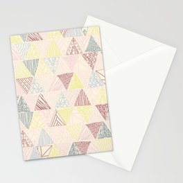 Hand Drawn Geometric Triangle Pattern Design - Burgundy and Yellow Stationery Cards