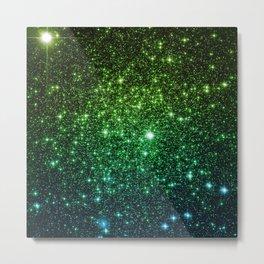 Glitter Galaxy Stars Green Teal Ombre Metal Print