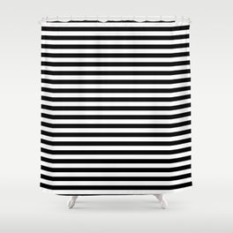 Midnight Black and White Horizontal Deck Chair Stripes Shower Curtain