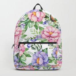 Watercolor hand painted pink lavender brown floral cute owl pattern Backpack
