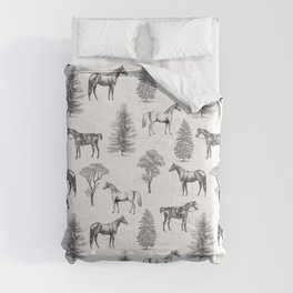 HORSES &TREES Black and white pattern  Comforters