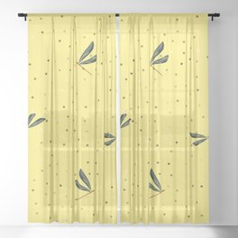 Dragonfly Christmas seamless pattern and Gold Confetti on Yellow Background Sheer Curtain