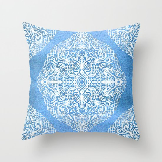 Throw Pillow Doodle : White Gouache Doodle on Pearly Blue Paint Throw Pillow by Micklyn Society6