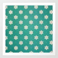 white flowers on turquoise Art Print