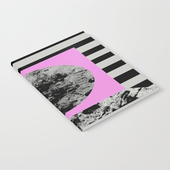 Stripes In Space - Geometric Abstract In Block Pink, Black And White And Black And Grey Stripes Notebook