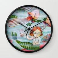 siren Wall Clocks featuring SIREN by Lauraballa StudioArte