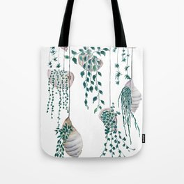 hanging plant in seashell Tote Bag