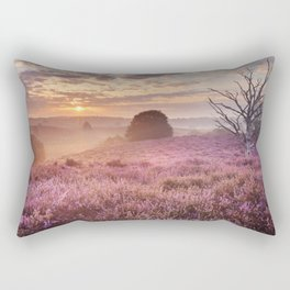 III - Blooming heather at sunrise, Posbank, The Netherlands Rectangular Pillow