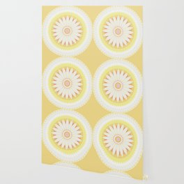 Sunshine Yellow Flower Mandala Abstract Wallpaper