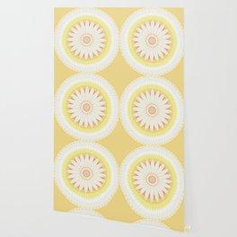 Sunshine Yellow Flower Mandala Abstract Wallpaper