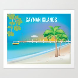 Cayman Islands - Skyline Illustration by Loose Petals Art Print