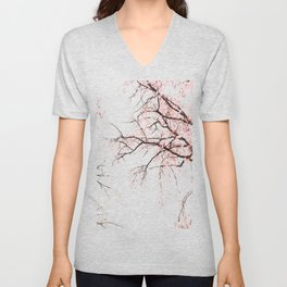 Cherry tree pink blossoms branches watercolor painting Unisex V-Neck
