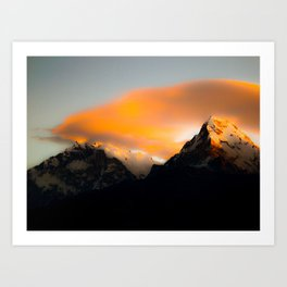 Welcoming dawn in the mountains Art Print